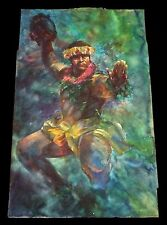 """1994 Hawaii WC & Pencil Painting """"Hypnotic Male Hula Dancer"""" by Brian Ibaan(Blo)"""