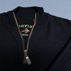 ORVIS 1/4 ZIP 100% MERINO WOOL SWEATER--L--LEATHER--LOOKS UNWORN!--PERFECT!-MINT