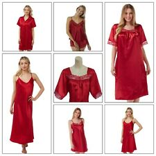 Ladies RED Long Satin Chemise PJs Pyjamas Set Nightdress Size 8 - 34 plus size
