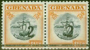 Grenada 1965 2 on $1.50 Black & Orange Setting A & B in a V.F Mtd Mint Pair