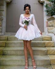 White Short Wedding Dresses Long Sleeves V Neck Mini Bridal Gowns Custom Size