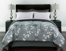 Shelby 8 Pc Floral Bed in a Bag King 102 x 90 ~ Gray Black White Purple **NEW**