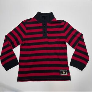 Janie and Jack boys size 5 xs red black striped rugby long sleeve shirt buttons