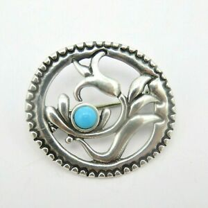 925 Sterling Silver Flower Brooch Pin Blue Turquoise Accent Ornate
