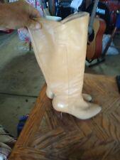 vintage Ralph Lauren boots 3 inch heels beige with zippers one owner