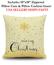 "18x18 18"" GOLD HAPPY MERRY CHRISTMAS XMAS HOLIDAY Zippered Pillow Case & Cushion"