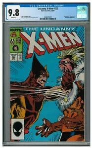 Uncanny X-Men #222 (1987) Classic Wolverine Vs Sabretooth Cover CGC 9.8 JZ035
