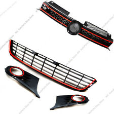 Red Front Bumper Upper&Lower Grille Fog Lamp k For VW Golf GTI MK7 VII 09-13