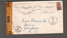 South Africa WWII examined 6856 NY censor cover East London to NY/postage due