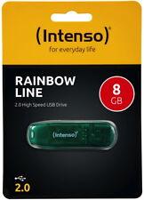 Intenso USB Stick 8GB Speicherstick Rainbow Line grün