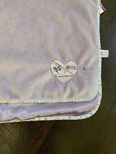 Carters Purple Heart Baby Blanket Lavender Butterfly Kisses Satin Back Girl RARE