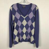 Charter Club Cashmere Argyle V-Neck Sweater Purple Ivory Womens Size Large L