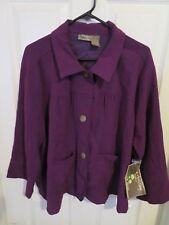 New Jane Ashley Woman Casual Lifestyle Purple Button Down Blouse Plus Size 2X