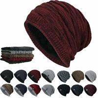 Herren Damen Slouch Beanie Mütze Gefütterte Wintermütze Strickmütze Hüte Warm