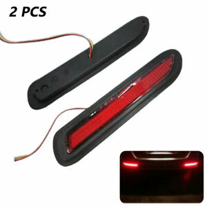 12V 2X Red Lens LED Car Rear Bumper Reflectors Taillight Brake Fog  Light 5W