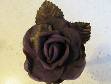 Millinery Flower Rose Plum Brown 3 1/2� with 2 velvet leaves G95