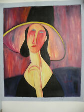 Modigliani Art canvas color Hand oil paint Modern Abstract Picture Duotone 24x20