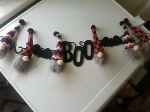 New Tk Maxx  Stunning Halloween Gonk Gnome Witch Garland Saying BOO FREE POSTAGE