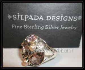 SILPADA RARE Sterling Silver Sweet Embrace Pearl Glass Ring Size 8 R2442 RETIRED