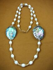 """(v462-1) green Paua abalone shell + white Mother of Pearl 32"""" beaded Necklace"""