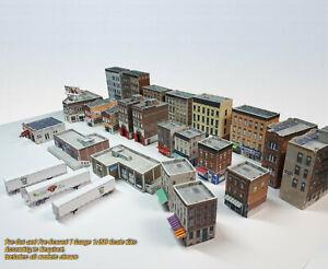 T Gauge 1:450 Buildings Pack - 25 Structure (Coverstock PRE-CUT Paper Kits) UPT1