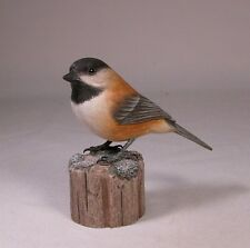 Chestnut-backed Chickadee Backyard Bird Carving/Birdhug