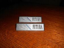 "NICE PAIR OEM FORD FALCON""FUTURA""DOOR PANEL EMBLEM SCRIPT TRIM    METAL  FOMOCO"
