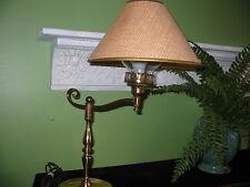 VTG Mid-Century Brass Swing Arm Desk Student Lamp Light Hurricane Globe Design