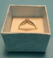Solid 10k White Gold Solitaire Diamond Cathedral Set Engagement Ring  6.75 6 3/4