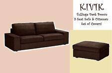 IKEA Kivik 3-Seat Sofa AND Ottoman Tullinge Dark Brown Cover Footstool Slipcover