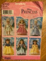 """Simplicity 5705 uncut Pattern 18"""" Dolls Clothes 6 Princess Dresses"""
