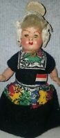 Vintage composite Girl Doll, 1950s Made in Holland.. painted face lost shoes
