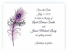 100 Personalized Custom Purple Peacock Feather Wedding Save The Date Cards