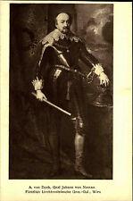 Tarjeta de artistas arte editorial Wolfrum ~ 1910 van Dyck retrato conde Johann de Nassau