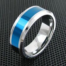 8mm Men's Tungsten Ring Blue Center Stripe Beveled Edge Wedding Band Jewelry