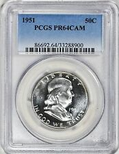 1951 PCGS PR64 Cameo Franklin Silver Half Dollar Proof PF64 Cam BU Bright White