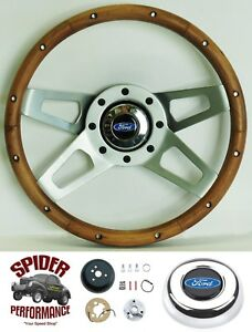"1978-1991 Ford pickup steering wheel BLUE OVAL 13 1/2"" WALNUT 4 SPOKE"