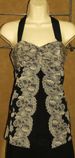 WHITE House BLACK Market - Floral Lace Design - 100% SILK - Halter Blouse sz 2