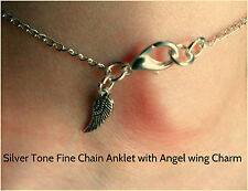 New Silver Tone Fine Chain Angel Wing Charm Anklet 26 cm Great Christmas Gift