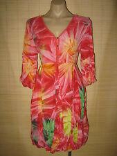 NEW tie dye pink bell bubble skirt & sleeve cotton rayon Dress size 10 - 12 best