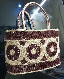 100% Natural Banana Fiber Handmade Product Shopping Bag Size: 31 x 13 x 20 CM