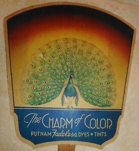 1930's Rambo's Store Abingdon VA Putnam Dies Peacock Cardboard Advertising Fan