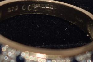 9ct Yellow Gold Diamond & Black Stone Band Ring