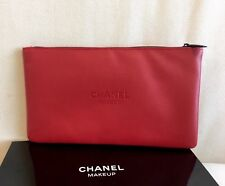 CHANEL Red Faux Leather Makeup Cosmetic Bag Pouch ** New in Box
