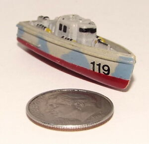 Small Micro Machine Plastic PT-Boat PT-119 in Gray with Red Keel