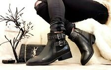 XTI FLAT BUCKLE POINTED ANKLE BOOTS SIZE UK 4 EUR 37