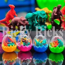 96 Dinosaur Erasers Toys Eggs Party Bag Fillers Favors Jurassic T-Rex 12 Egg Lot
