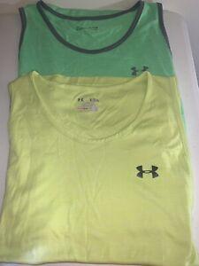 Under Armour Green & Yellow Mens XL Loose HeatGear Tank Tops UA *Lot Of 2
