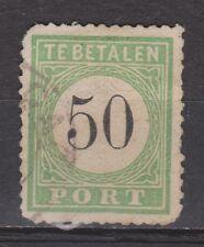 P10 Port nr. 10 type 3 used Curacao, Nederlandse Antillen 1889 portzegel