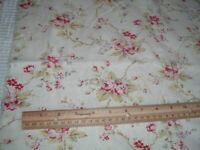 Vtg 40s Shabby Cottage Feedsack/Linen Style Roses 64x16 Remnant Sew Fabric #MFB